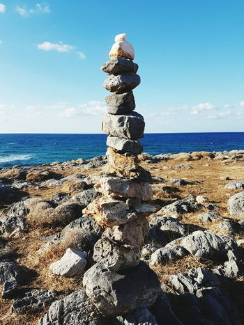 Horizon Over Water Water Beach Rock - Object Tranquil Scene Stone - Object Outdoors Clear Sky Vacations Crete Greece Malia Greece