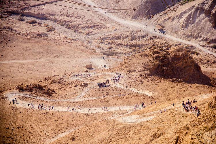 Aerial view of people in desert