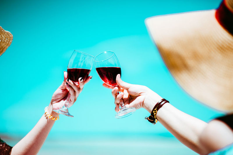 Lifestyles Leisure Activity Women Holiday Wine Vacations Vacation Tropical Summer Sky Woman Alcohol Drink Glass Refreshment Food And Drink Wineglass Hand Human Hand Red Wine Celebratory Toast Human Body Part Adult Group Of People Celebration Holding Drinking Rose Wine Finger