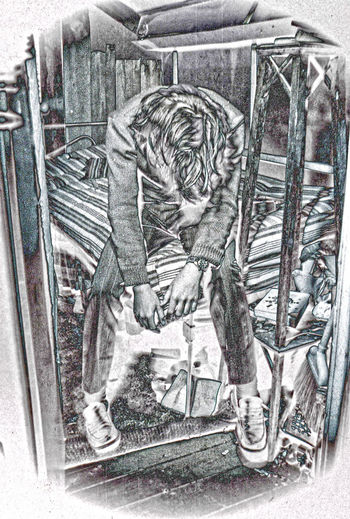 #depression #anguish #sadness #man #depression #sadness #man #room #disinterest #solarization #photography #solarization #help #friends Day People Representation The Past