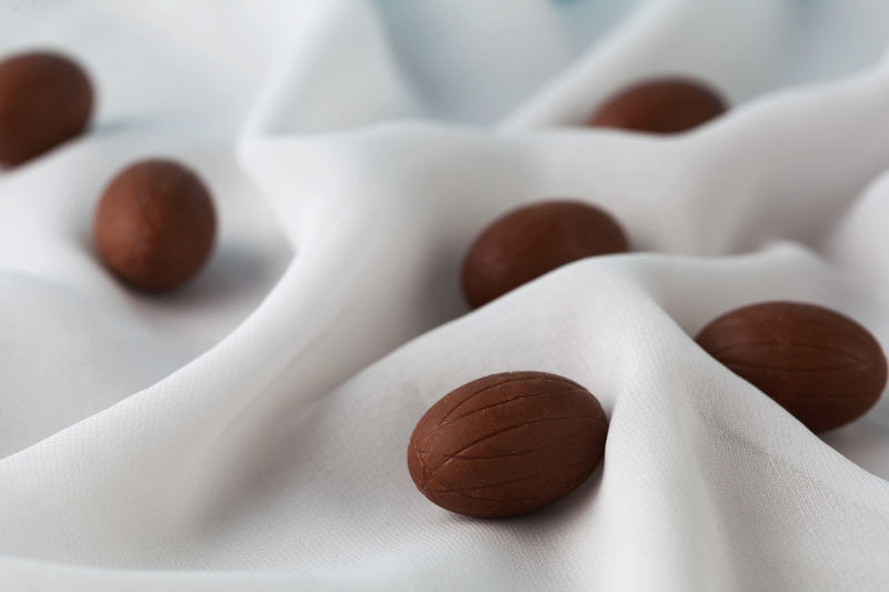 Chocolate Easter eggs among delicate white gauze fabric folds that looks like milk. Shallow depth of field. Chocolate Easter Easter Eggs Sugar Sugar Coated Close-up Closeup Day Food Food And Drink Freshness Happy Easter Healthy Eating Indoors  No People Still Life White Background