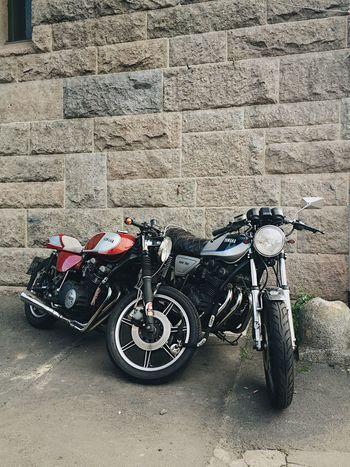 Blue Brick Brick Wall Caferacer Craft Day Honda Motorbike Motorcycle Motorcycles No People Outdoors Red Suzuki Wall