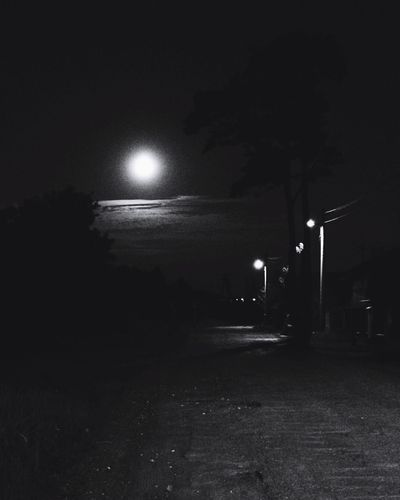 Night Illuminated Street Light Lighting Equipment Moon No People Dark Outdoors Sky City Nature