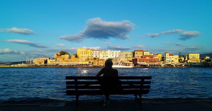 Greece Grecia GRECIA. ELLAS Chania Kreta Kreta Chania Water Sky Bench City Relaxation