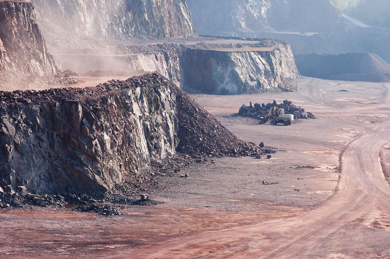 Empty Open-Pit Mining Against Sky