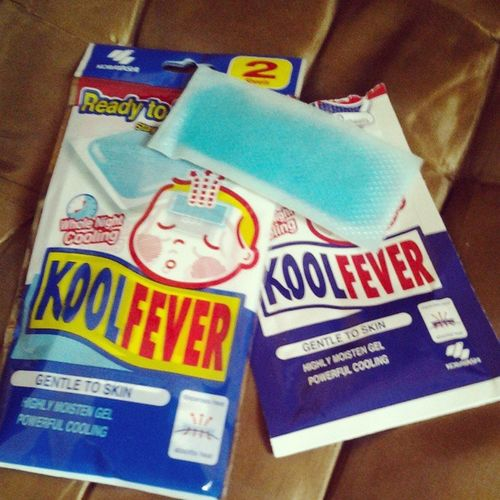 Effective way to feel cool in this heat, KOOL FEVER. You may look funny, yes. But its cooling effect is effective specially on hot days. Koolfever Coolingsheet Cooling  Effective howtobeatthesummerheat
