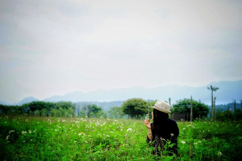 remake 2016 Woman Lady Girl Green Flesh Plant Rural Scene Farmer Headwear Field Full Length Agriculture Hat Sky Grass Landscape Asian Style Conical Hat Straw Hat Growing Young Plant Farmland Plant Life Greenery Grassland Countryside