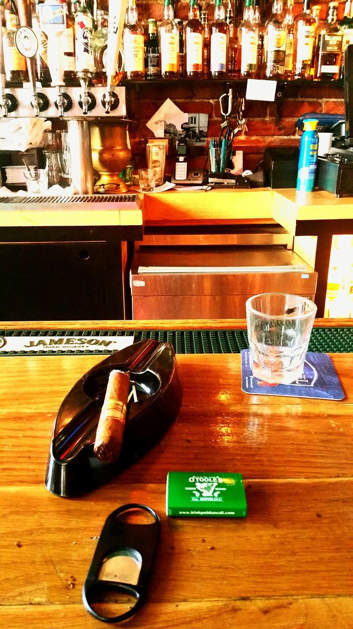table, indoors, no people, bar - drink establishment, drink, choice, close-up, day