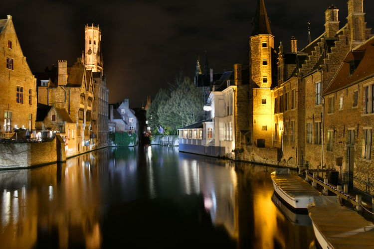 Visiting Brugge Brugge Brugge, Belgium Langzeitbelichtung Long Exposure Reflection Watersideview Architecture Building Exterior Illuminated Water Built Structure Night Building City Waterfront Travel Destinations Transportation Nautical Vessel Nature Sky Canal Tourism Religion The Past No People
