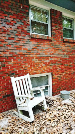 Chair No People Wood - Material Outdoors Building Exterior Brick Wall Abandoned Day Architecture Built Structure USA Photos USA EyeEmNewHere Silence Thinking Centerpoint Alabama Outdoors Alabama خريف هدوء