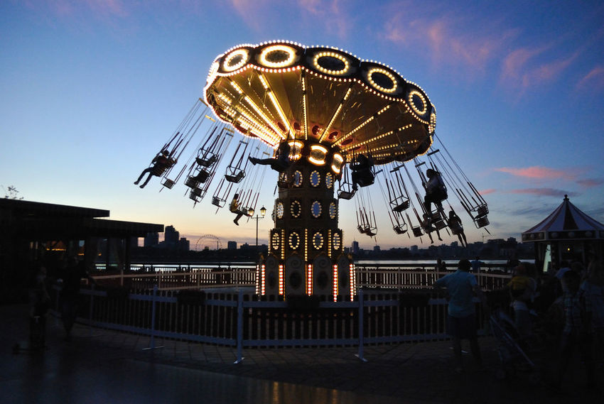 Flying Chair Illuminated Outdoors Promenade Sky Sunset
