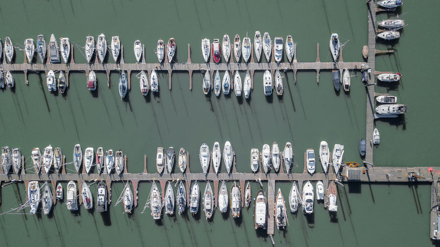Directly above shot of boats moored on lake
