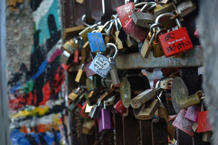 Travel Photography East Side Gallery Graffiti Berlin Wall Hanging Love Padlock Positive Emotion Multi Colored Love Lock No People Metal Day