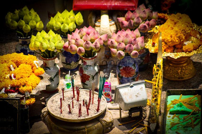 Flower Altar Thai Altar Multi Colored Religious Offerings Flower Arrangement Bouquet Thailand Eyeem Philippines Spirituality Place If Worship Buddhist Temple Buddhist Culture Buddhist Temple In Thailand