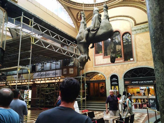 Riding Upside Down Horse Art Sculpture Prague Architecture David Cerny