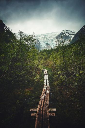 Wooden footbridge amidst trees and mountains against sky