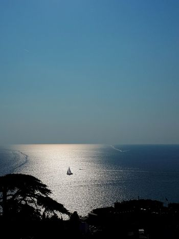 Boat Sail Sailboat Sailing Sailing Boat Sunlight Sunny Day Blue Sky Water Sea Blue Clear Sky Silhouette Sunset Sun Seascape Idyllic Tranquil Scene Coastal Feature Calm Coast Remote Horizon Over Water Coastline Scenics Tranquility Shore Ocean