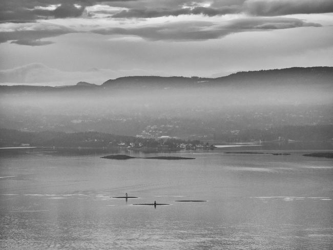 Lighthouses across the Oslofjord, as seen from the top of Nesodden Across The Fjord Beauty In Nature Black & White Blackandwhite Cloud - Sky Lighthouse Nature Nautical Vessel No People Norway Oslofjord Oslofjord Lighthouse Outdoors Scandinavia Scenics Seascape Sky Tranquility Water