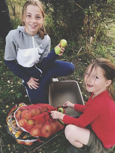 Apple Gatherers! Picking Apples Autumm Fruits Apples Child Childhood Girls Females Women Food And Drink Family Lifestyles Real People Outdoors