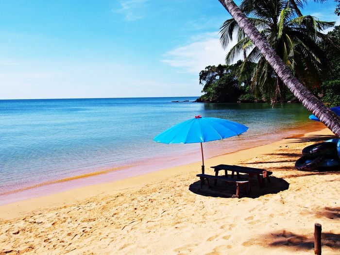 Sea view from tropical sky and clear water are perfect summer at Trat Thailand. Beach Sea Sky Nature Umbrella Chair Tree Horizon Over Water Sand Scenics - Nature Beauty In Nature Blue Sky Horizon Tranquil Scene Holiday Vacation Travel Outdoors Trat Aw Tarn Ku Tropical Lounge Chair No People
