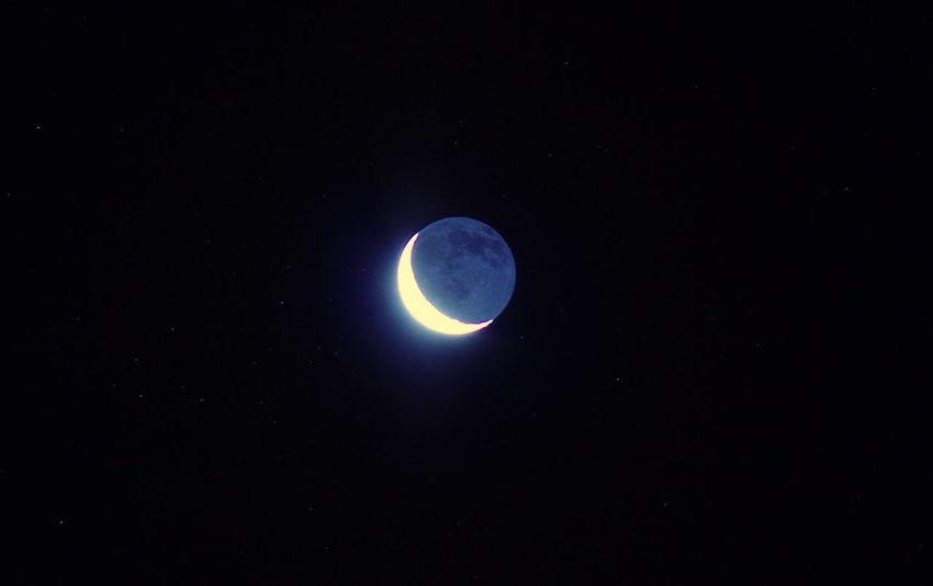 Astronomy Atmospheric Mood Dark Glowing Illuminated Light Low Angle View Moon Mystery Night Shiny Space Star Star Field Waning Moon Miami Platja -Tarragona