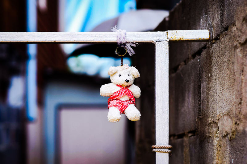Close-up of toy hanging on wood
