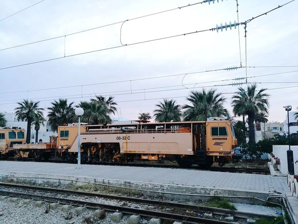 Railroad Track Sky Train - Vehicle Cloud - Sky Rail Transportation Power Line  Day No People Outdoors Mode Of Transport Transportation Nature Bird