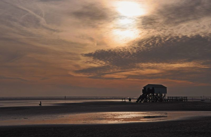 Nordsee Sky Sea Water Sunset Cloud - Sky Beach Land Scenics - Nature Nature Beauty In Nature Built Structure Horizon
