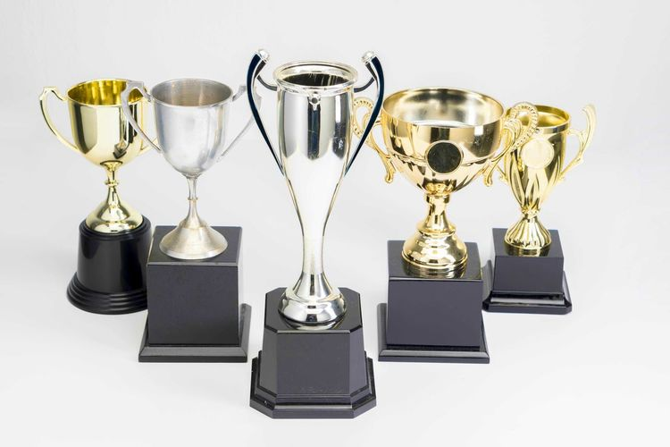 Variety of Trophy Cup on white background Trophy AWARD Winning Achievement Success Studio Shot Gold Colored No People Shiny Still Life Medal Competition Metal Indoors  Side By Side Pride White Background Gold Group Of Objects Silver Colored