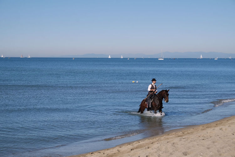 Sea Water Horizon Over Water Beach Real People Outdoors Sky Nautical Vessel Beauty In Nature Adult Day Nature Horse Riding Animal Themes Domestic Animals Sea And Sky Seashore Sea View Sea Tirrenia Pisa, Italy Pisa Tirrenia