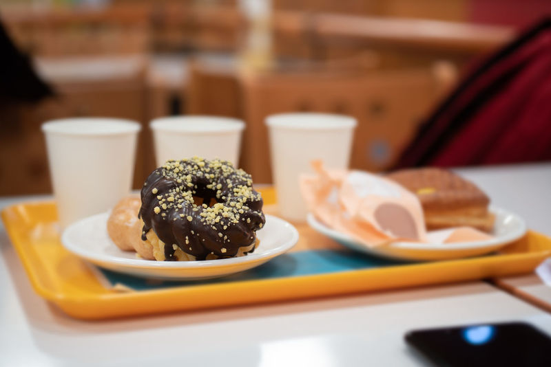 Plate of chocolate donut and cups of drinks in tray Food And Drink Food Plate Table Ready-to-eat Indoors  Freshness Indulgence Focus On Foreground Sweet Food Selective Focus Close-up Serving Size Sweet Temptation Meal Dessert Restaurant Unhealthy Eating No People Breakfast Japanese Food Tray Donut Chocolate