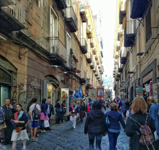 Large Group Of People City Building Exterior Architecture Travel Destinations Built Structure Real People Men Women Adults Only People Outdoors Day Adult Crowd Napoli Naples Italy Italia Streetphotography