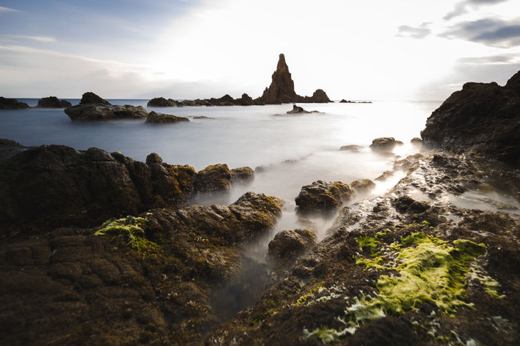 Sea Sky Water Beauty In Nature Scenics - Nature Land Nature Ocean Silky Water Sunset Cloud - Sky Long Exposure Rock - Object Solid Travel Destinations Outdoors
