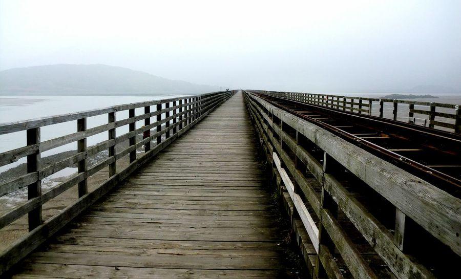 Bridge Railway Track Man-made Structure Misty Day Deserted Atmospheric