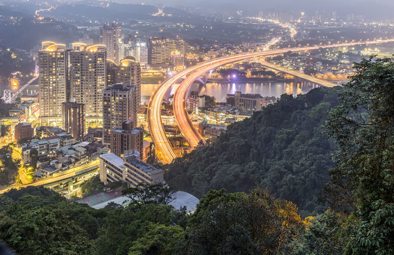 Lion's Head Mountain Shooting, New taipei city night scene, night cityscape New Taipei City Lion's Head Mountain City Night Scene Night Cityscape Taiwan Skyline ASIA Bridge Building Exterior Building Busy City Construction Downtown Evening Sky Exposure Highway Landmark Long Exposure Mountain