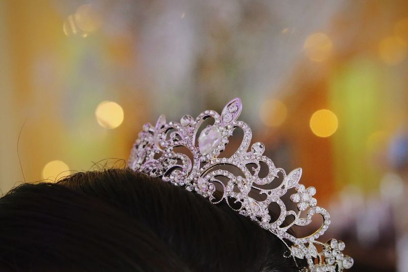 Close-up of woman wearing tiara on head