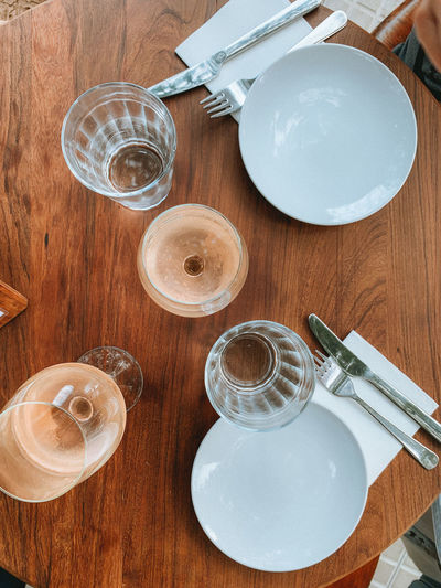 High angle view of empty glass on table