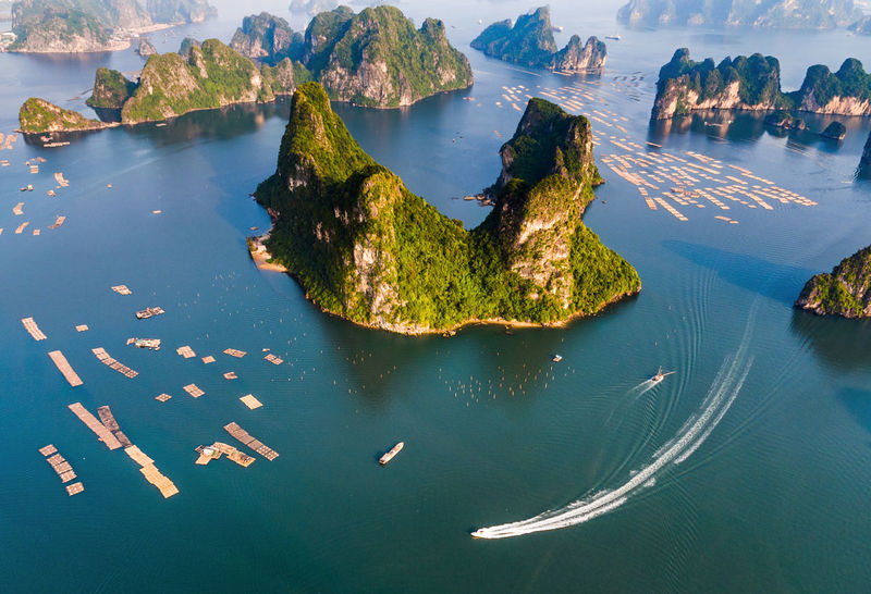 Bai Tu Long Bay Ha Long Beauty In Nature Boat Close-up Day Ha Long Bay High Angle View Horizon Over Water Nature No People Outdoors Scenics Sea Sky Water