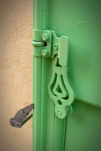 Wooden shutter lock detail in France. Green Color Door Day Outdoors No People Full Frame Close-up France Green Color France🇫🇷 Travel Destinations Wooden Shutters Painted Wood