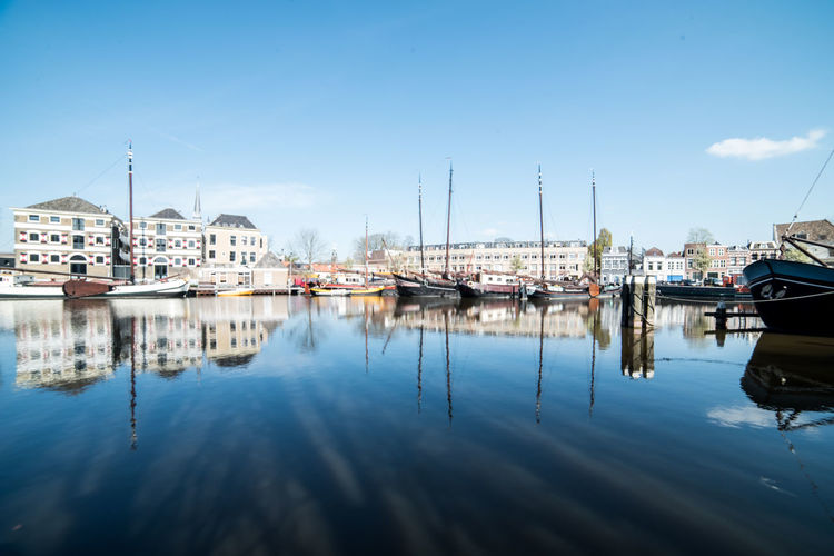 Harbor @ Gouda Water Nautical Vessel Mode Of Transportation Transportation Reflection Moored Sky Building Exterior Harbor Nature Architecture Sailboat Waterfront Built Structure No People City Day Mast Cloud - Sky Marina Yacht Port