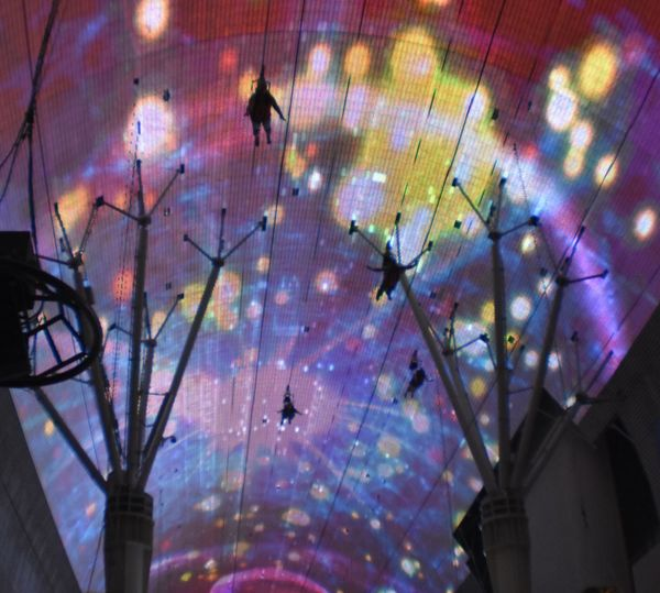 Zipline Adventure Freemont Street Experience Zipline Illuminated Multi Colored Astronomy Painted Image Close-up Sky