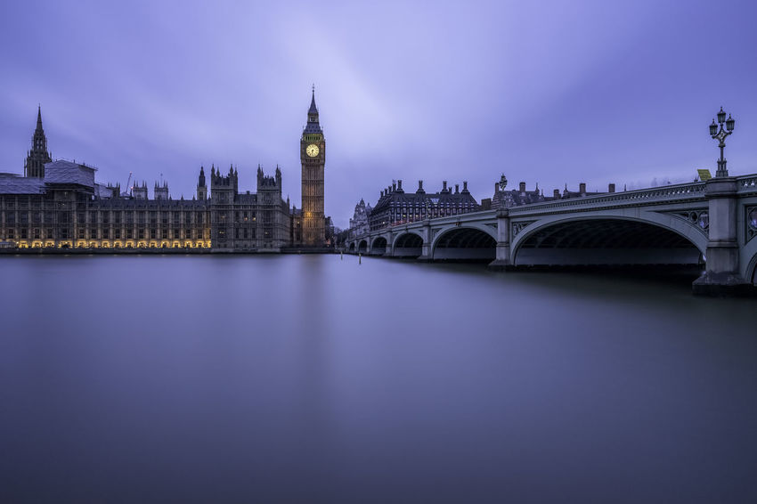 Silky blue Architecture Bigben Bridge - Man Made Structure Building Exterior Built Structure Cityscape Clock Tower EyeEm Gallery Government Long Exposure Outdoors River Silky Sky Travel Destinations Urban Skyline Water