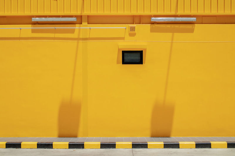 Yellow wall Attention Caution LINE Modern Paint The Town Yellow Sign Architecture Art Backdrop Background Barrier Black Clean Color Concrete Design Frame Pattern Safety Space Striped Urban Water Yellow