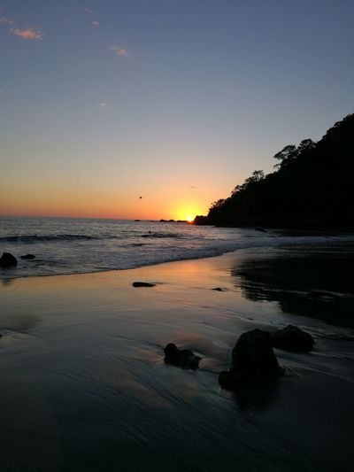 Manuel Antonio Costa Rica Beach Sunset Nature Landscape Sand Rocks And Water Sea Sky Sky And Sea Outdoors No People Relaxation Evening Vacation Destination