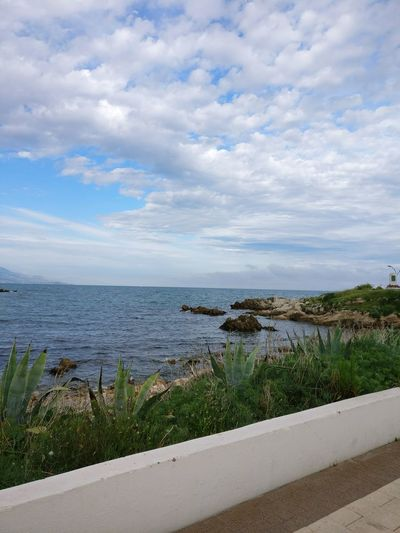 Antibes 😍☀️ Beach Cloud - Sky Water Sea Day Nature Outdoors Scenics Tranquility Plant Beauty In Nature No People Grass Sky Landscape France Côte D'Azur Mer Horizon Over Water Sunshine Light Beauty In Nature Summer Growth Nature