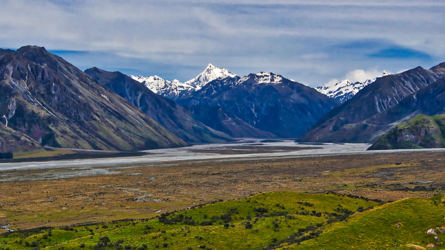 View from Mt Sunday, the location of Edoras and the Hall of Meduseld in the Lord of the Rings films. This is one of the most remote LOTR locations that can be accessed by the public, in the Haketere Conservation Area of NZ's South Island. LOTR New Zealand Landscape Beauty In Nature Cloud - Sky Cold Temperature Day Landscape Mountain Mountain Range Nature No People Outdoors Scenics Sky Snow Snowcapped Mountain Tranquil Scene Tranquility Water Winter