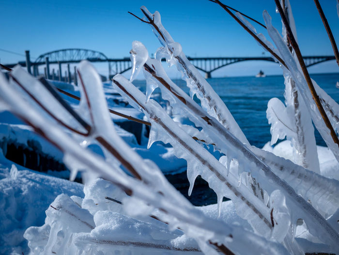 Nature Water Day Sea No People Transportation Sky Winter Selective Focus Snow Blue Beauty In Nature Cold Temperature Mode Of Transportation Scenics - Nature Outdoors Focus On Foreground Bridge Bridge - Man Made Structure Frozen Frozen Nature Lake River