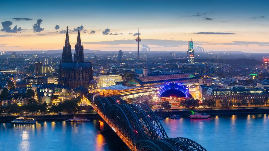 Blue hour in the city of Cologne Travel Destinations Cityscape Travel Tourism Building Exterior City Cologne Köln Germany NRW Nordrhein-Westfalen Kölner Dom Cathedral Dusk Blue Hour Landmark Europe