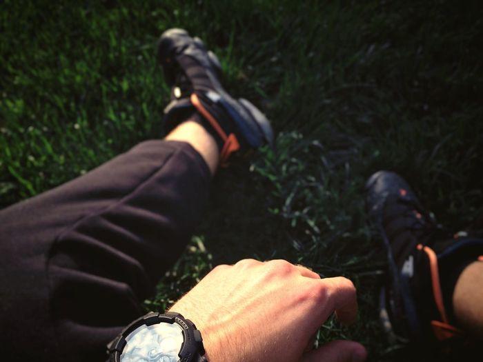 G-Shock ⌚ Jordans On My Feet  Green Grass IPhone 5S Legs Atmosphere First Eyeem Photo