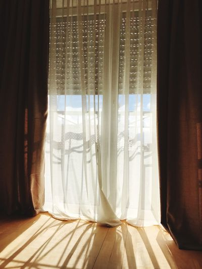 rays of the sun passing through the window Summer Morning Room Curtain Curtains Sun Rays Sun Curtain Drapes  Indoors  Window Home Interior Sunlight Day No People Close-up